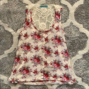 Flower and lace tank
